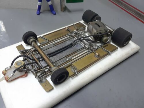 1/24 vintage scratch built brass chassis. tires r soft.tested on track runs good