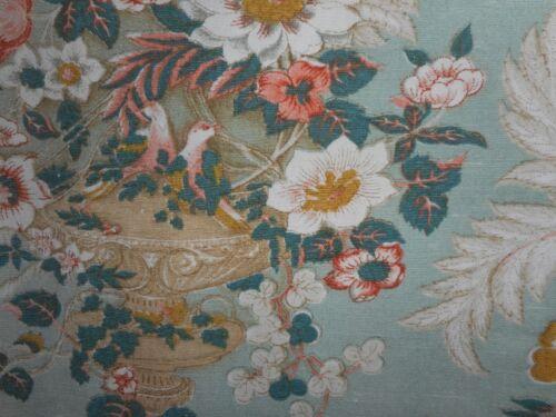 Vintage English Floral Urn Bird  Linen Union Fabric ~ Aqua Melon Green Ochre