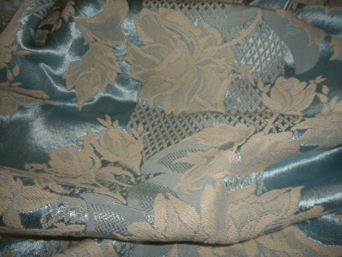 Vintage Lg Roses Ribbon Satin Jacquard Damask Fabric ~ Soft Ice Sky Blue