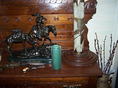Teco Pottery 2 buttress handle matte green vase
