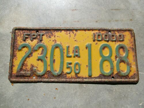 Louisiana 1950 FPT license plate #  230 188