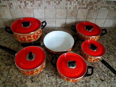 Vtg Retro Fancipans Porcelain Enamel Pot Pans Orange Lids Birds Flowers Tulips