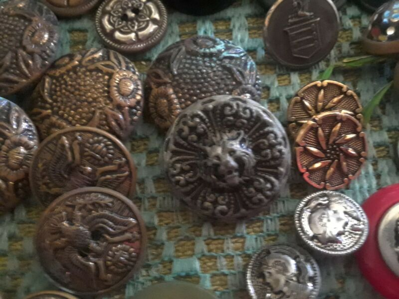 Antique, Vintage Buttons OLD LOT, 10+ lbs,  Unusual Figural Metal, Military...