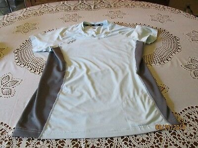 Women's Fox Technical Apparel V Neck Light Blue with Gray Mesh T-Shirt Size - Clothing With Lights