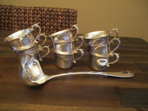 Set of 9  Silverplate Julip Punch Cups & Ladle Nice Glossy Condition.
