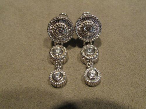 Sterling Silver CZ Dangle/Drop Omega Leverback Earrings