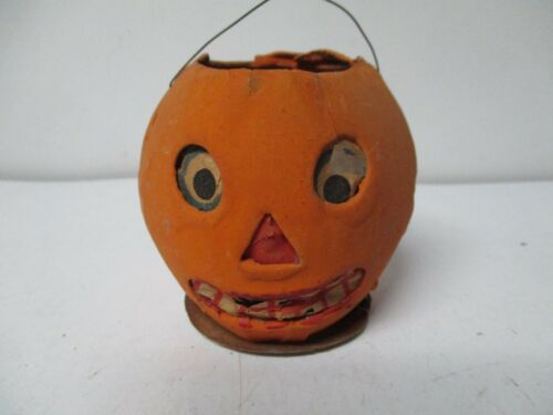 "3"" - Vintage Halloween Germany JOL Pumpkin Candle Lantern"