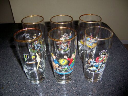 Set of 6 Vintage German Cartoon .5 Liter Beer Glasses Gold Rim, Lust/Drinking