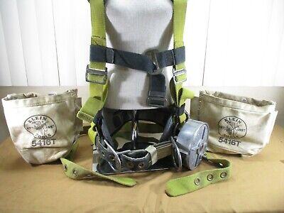 Miller Lineman Tool Belt Body Harness Straps W Klein Wire Reel Side Bags