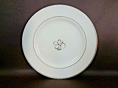 Vintage 7-1/2 Inch Salad Plate White With Gold Clover Center (#15C031)
