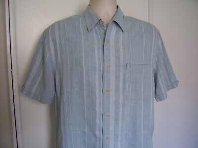 The Havanera Co mens Linen Rayon Blue Textured Shortsleeve Camp Shirt Size L