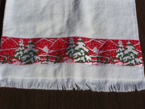 NEW Fieldcrest Christmas Hand Fingertip Towel White with Trees All Cotton Face