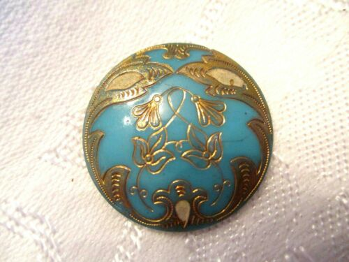 """OLD 1"""" Antique VICTORIAN TURQUOISE Glass Clothing BUTTON w/ GOLD FLORAL"""