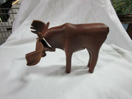 Leather moose figurine