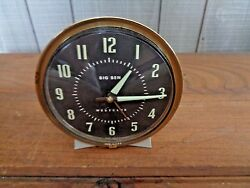 Vintage Westclox Big Ben Wind Up Alarm Clock White Case Brass type 7 1950's 60's