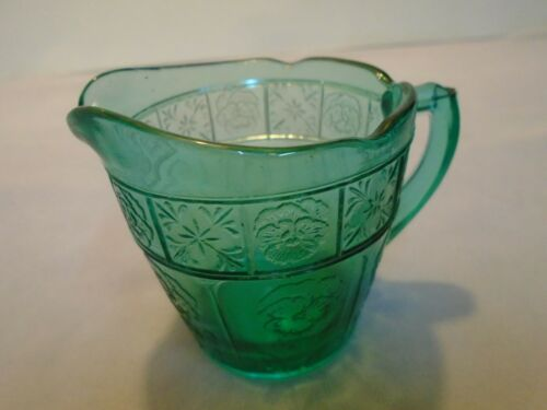 "Doric And Pansy By Jeannette, Teal Green Childs Creamer, 2.5"" Tall & Top Vintage"
