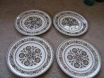 """4 WOOD & SONS WELLESLEY ENGLAND 10"""" Dinner Plates Vintage brown flowers"""