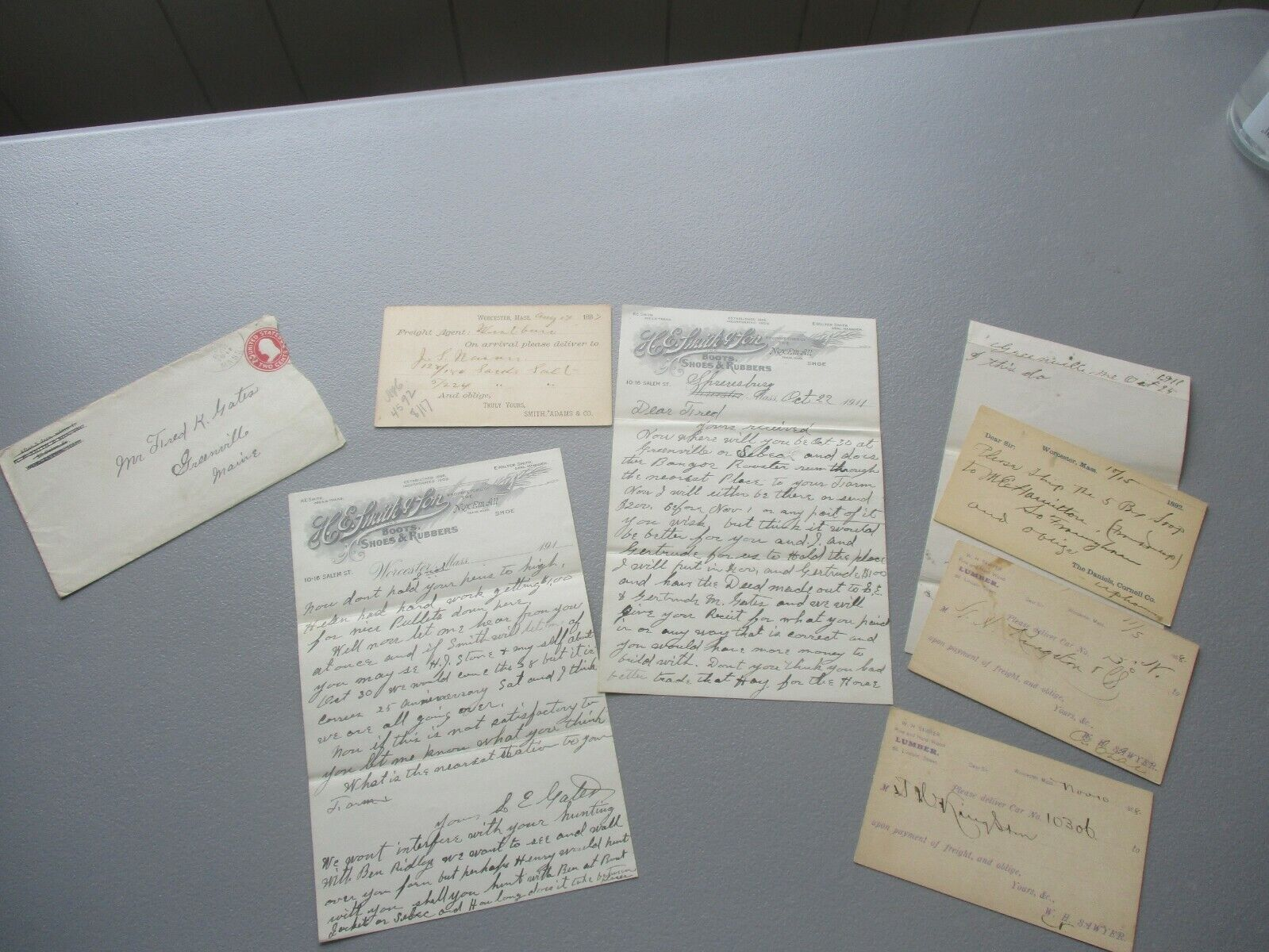 1880-1911 6 Worcester,Mass., Smith,Cornell,Sawyer,Adams Letter,cover,card Lot - $19.99