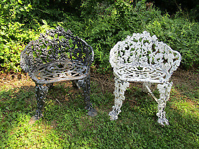Pair of vintage cast iron garden chairs grape vine pattern seats