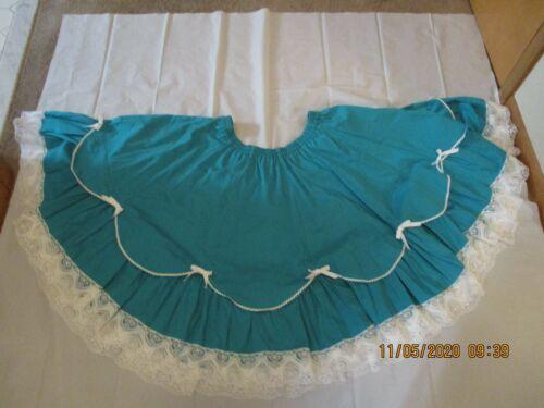 Vtg Kate Schorer Originals Green W/White Bows Square Dance Circle Skirt Size L