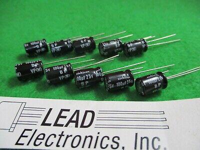 Qty 10 Nichicon 100uf 25-volt Radial Bi-polar Non-polar Uvp1e101mpd