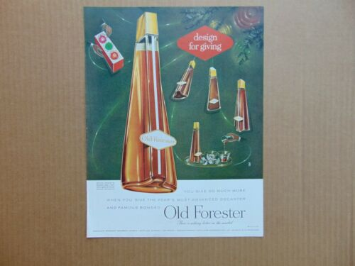 1956 OLD FORESTER WHISKEY FANCY DECANTER vintage art print ad