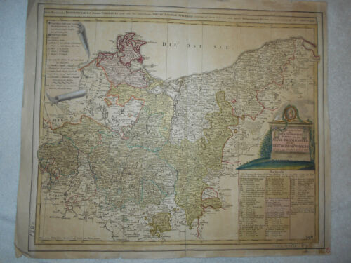 ORIGINAL 1780 Mark Bradenburg Color Map of Prussia Germany 21X25 Inches NICE