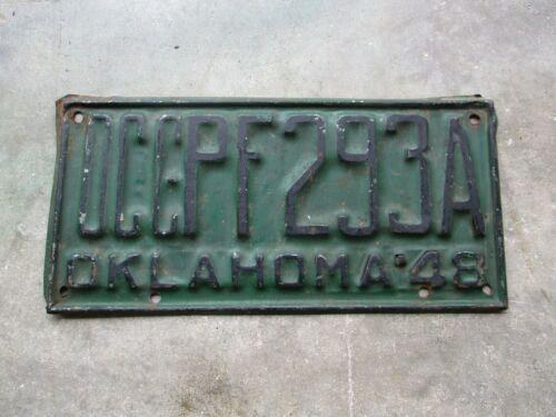 Oklahoma 1948 OCC license plate #  PF 293 A