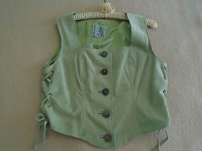 Bavarian Ladies Beige Leather Trachten Vest Very Soft Leather-Suede