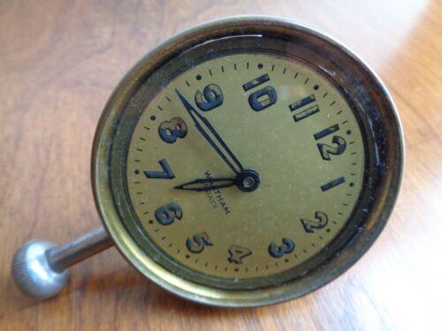 Vintage Antique Waltham 8 days Car Automobile Wind Up Short Stem Dash Clock