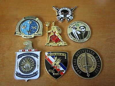 Lot of 7 Challenge Coins CIA Reaper Navy Seal Teams Spartan PJ's NSW-2 CCT BAMF