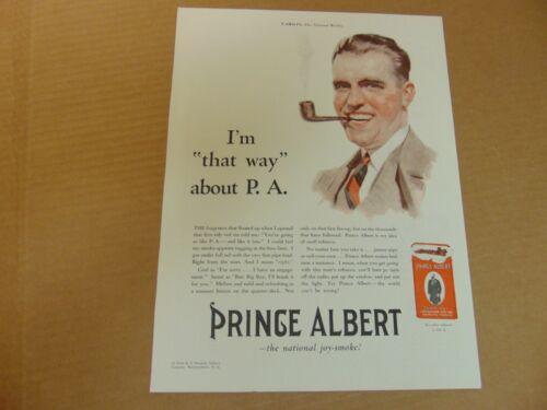 1930 PRINCE ALBERT TOBACCO Happy Man Smokes His Pipe vintage art print ad