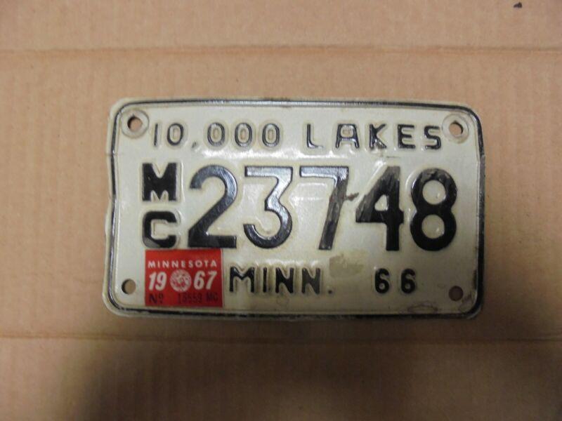 1966-1967 Minnesota Motorcycle License Plate