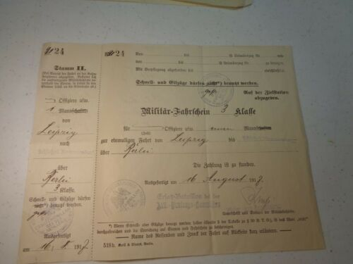 Rare Complete WW1 1918 German Named Officers Military Train Ticket 3rd Cl Berlin