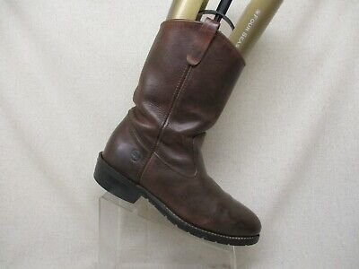 Double H Brown Leather Steel Toe Roper Cowboy Western Work Boots Mens Sz 10 D
