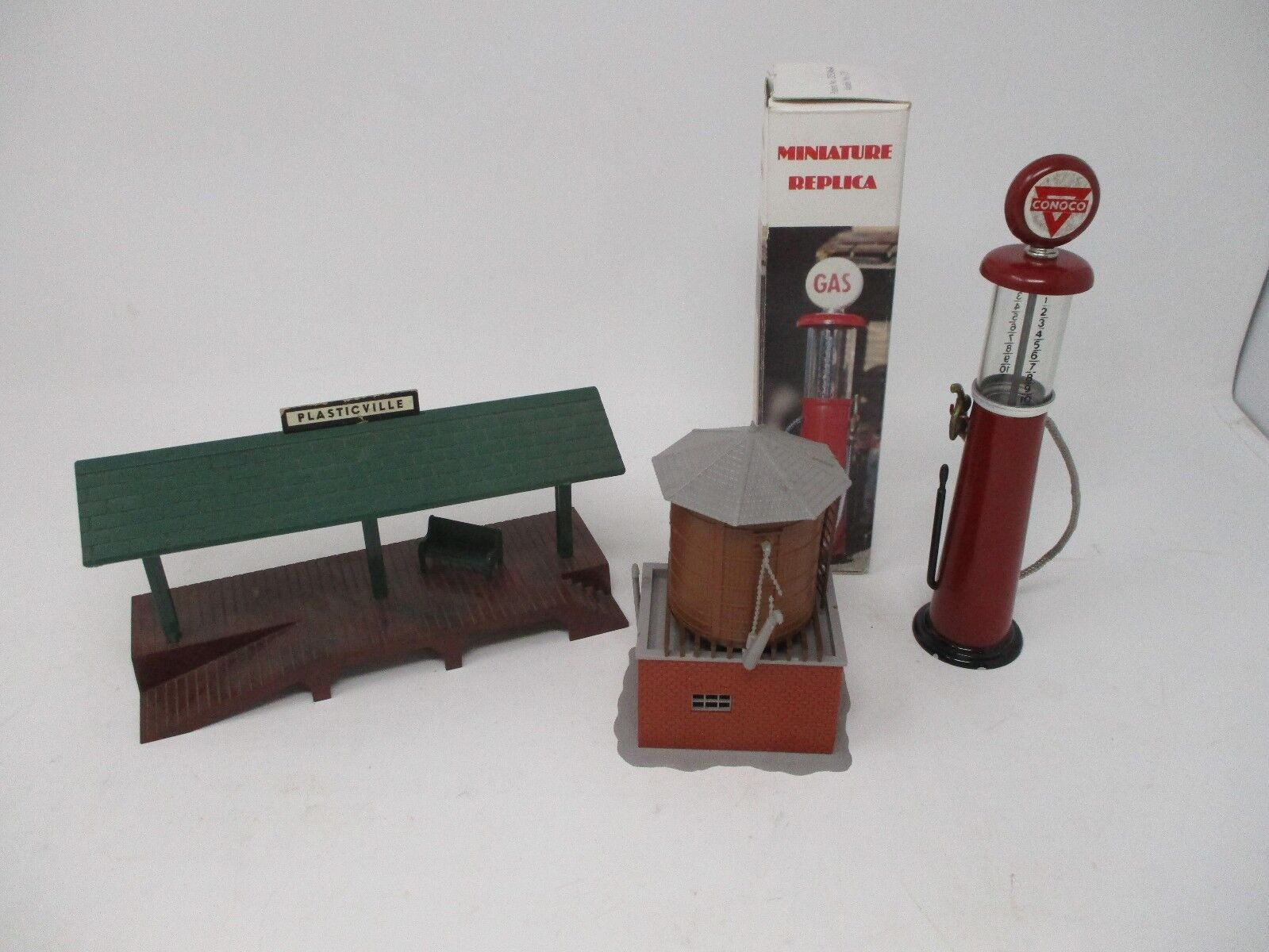Lot of Replica Conoco Gas Pump, Plastic Water Tower, Small Train Platform