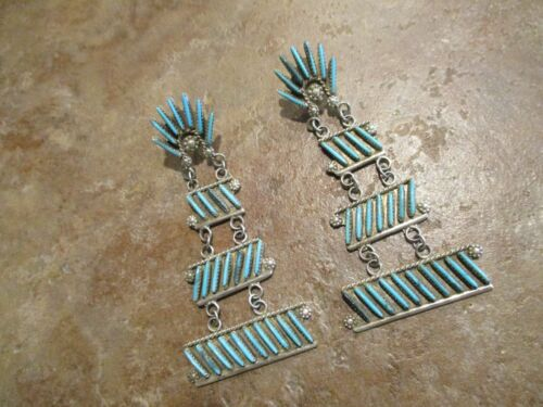 SPECTACULAR  Zuni Sterling Silver NEEDLE POINT Turquoise Chandelier Earrings