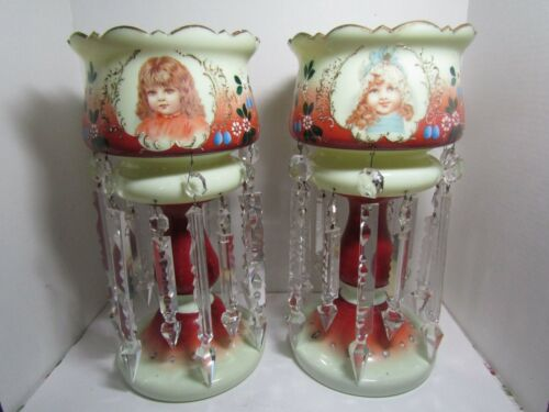 Victorian Custard Glass Painted Enamel Girls Portrait Mantle Luster Pair Prisms