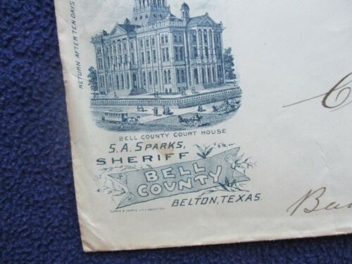 1888 Chas. Montague,Jr. Bandera Texas to Sheriff Sparks Belton,Texas NEAT Cover!