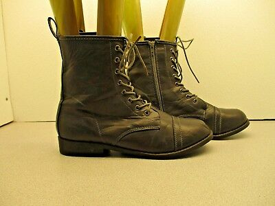 Rouge Helium Dark Gray Lace Up Zip Combat Boot Size 10