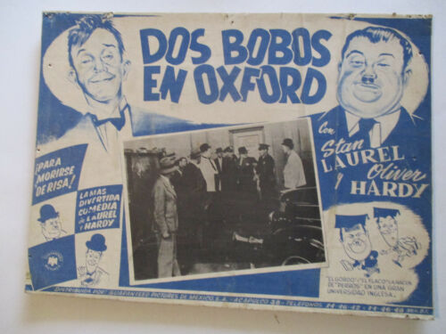LAUREL & HARDY 1939 A CHUMP AT OXFORD Lobby card in Spanish Vintage