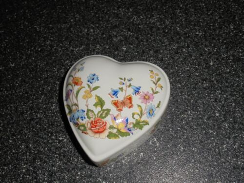 Aynsley Cottage Garden Pattern Heart Shaped Trinket Box Fine Bone China England