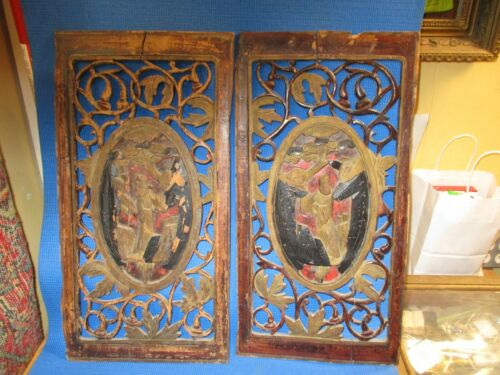 Two Antique Chinese Carved And Hand Painted Wooden Panels