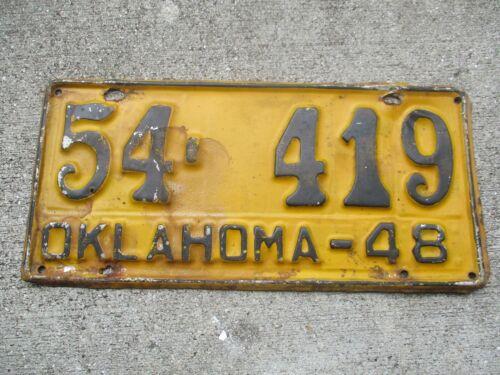 Oklahoma 1948  license plate  #   54 -  419