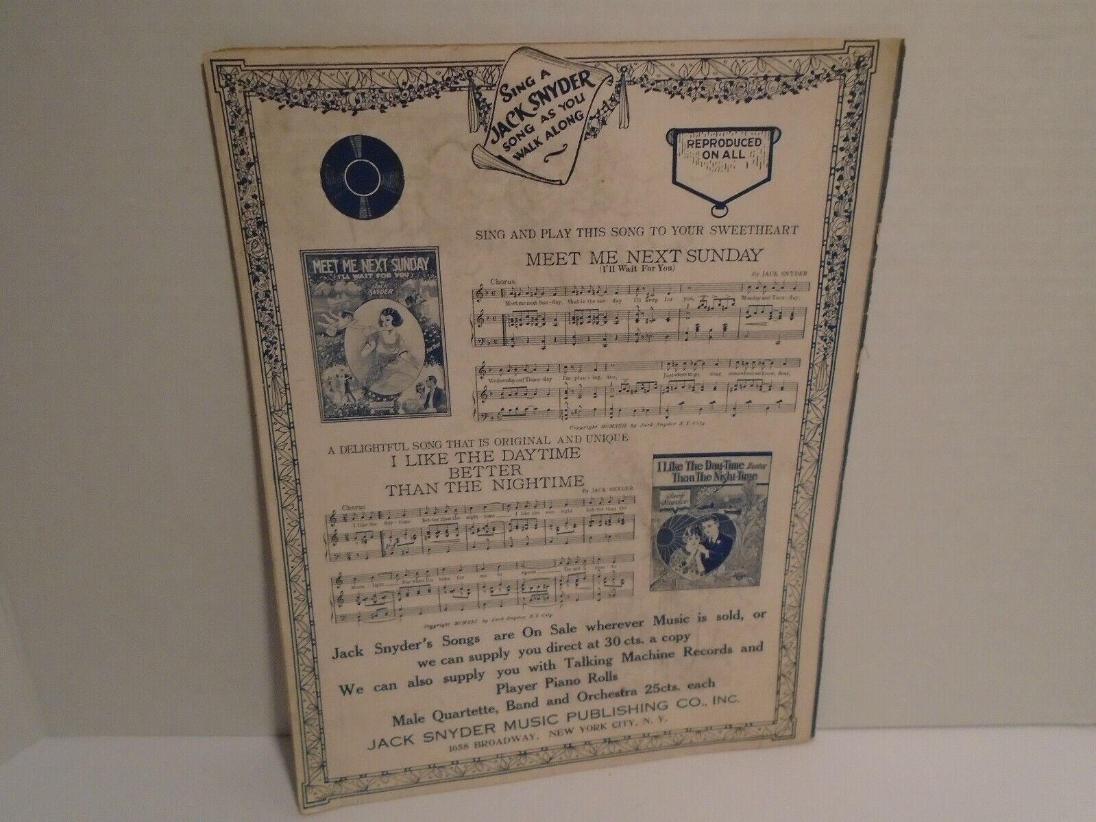 VINTAGE SHEET MUSIC 1919 HONEY DEAR Happy Blues By Jack Snyder 1922 - $39.95