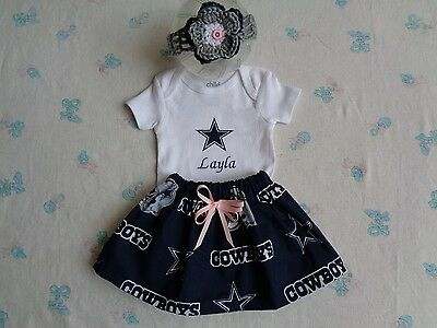 Cowboy And Girl (Dallas Cowboys Baby Girl Skirt, Personalized Bodysuit and)