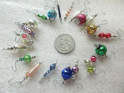 18 MERCURY GLASS BEAD ORNAMENTS= FEATHER TREE= CHRISTMAS= SHAPES & COLORS