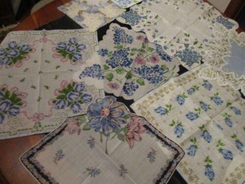 Lot of 10 Vintage BLUE  Floral hankies , all sizes, cotton
