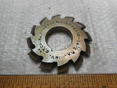 №1-8 Involute Gear Cutter Set M0,8 PA20° HSS Bore Dia 13mm Spline Modulfräser