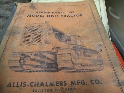 Allis Chalmers Hd11 Tractor Parts List Manual